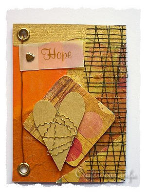 ATC - Artist Trading Cards - Hope ATC Using Orange and Gold Colors