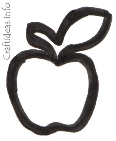 Free Craft Pattern And Coloring Book Page For An Apple