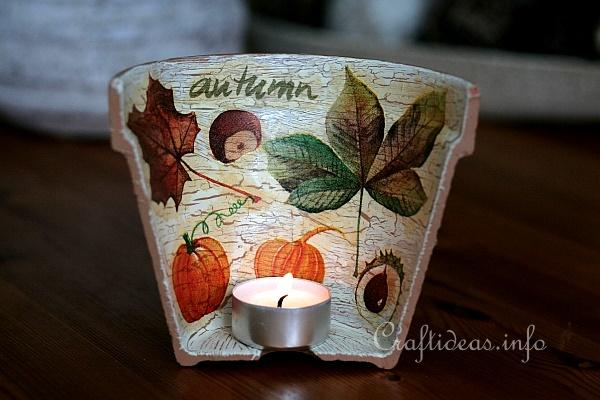 Autumn Crafts - Terracotta Clay Pot Tea Light Holder Embellished With