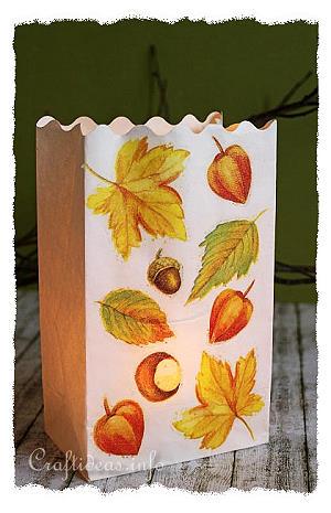 Autumn Paper Craft Paper Bag Luminaria With Fall Motifs