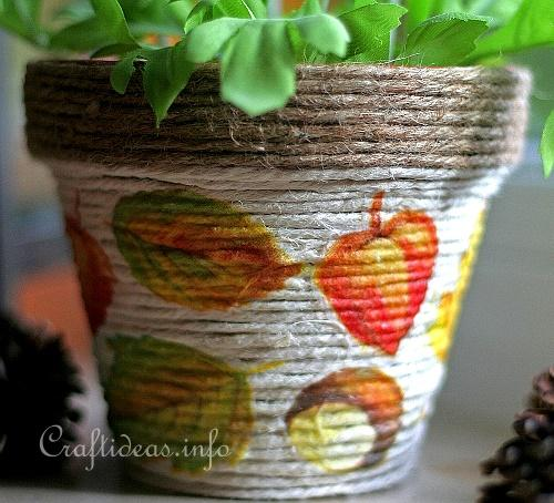 Autumn Terracotta Pot Covered With Jute Cord 3