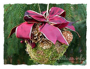 Basic Christmas Craft Ideas - Floral Craft - Moss Ball Ornament