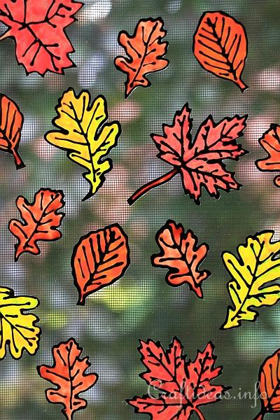 Basic Craft for Fall - Autumn Leaves Window Cling 2
