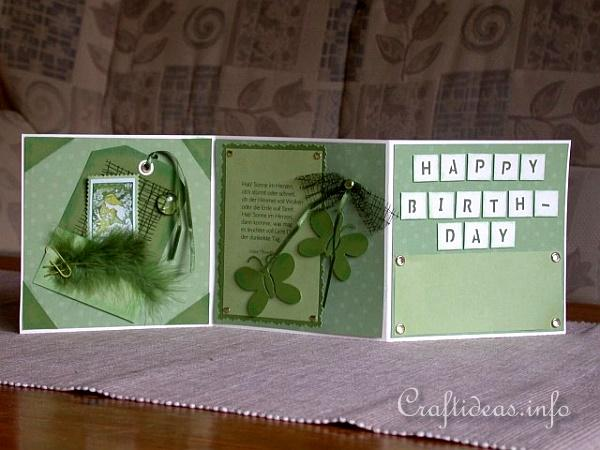 Birthday Card - Greeting Card - Accordian Folded Green Card for a 70th Birthday