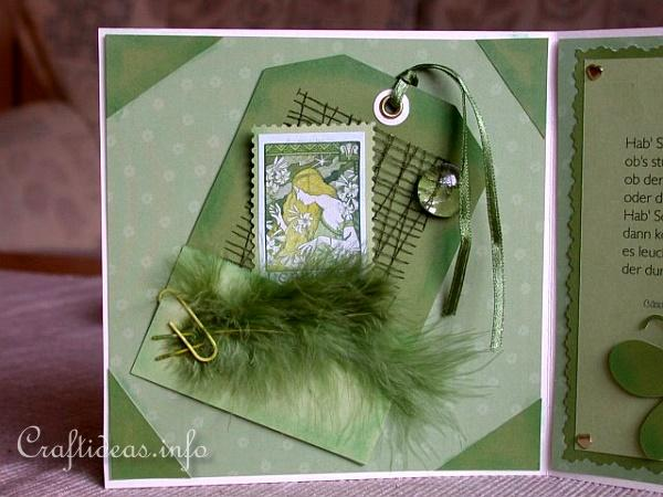 Birthday Card - Greeting Card - Accordian Folded Green Card for a 70th Birthday - Tags