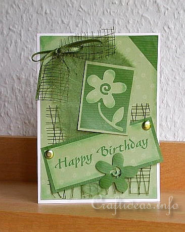 free card making instructions create a green birthday card. Black Bedroom Furniture Sets. Home Design Ideas