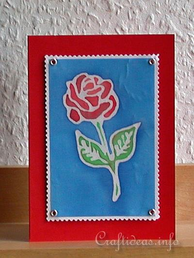 Birthday Card - Greeting Card - Red Rose on Silk Card