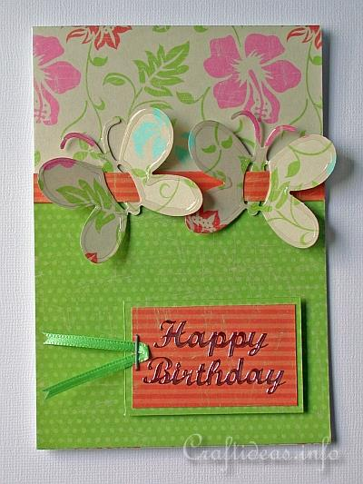 Birthday Card with Butterflies and Tropical Colors b