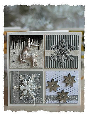 Christmas Card With Silver, Gold and White Embellishments
