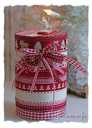 Christmas Craft - Recycling - Embellished Can With Lid