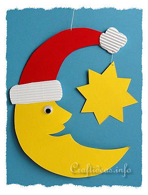 Christmas Crafts For Kids Paper Santa Moon Room Or Window Decoration