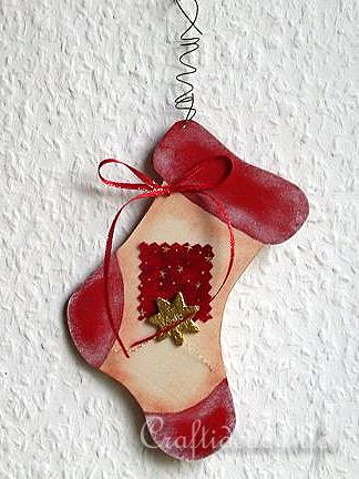 Christmas Wood Craft - Wooden Stocking Christmas Tree Ornament 2