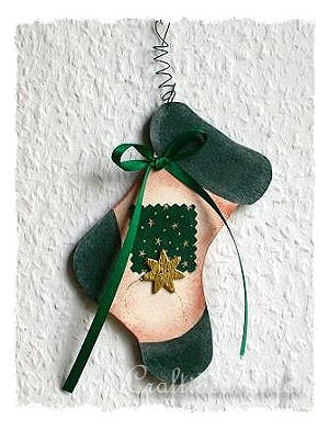 Christmas Wood Craft - Wooden Stocking Christmas Tree Ornament