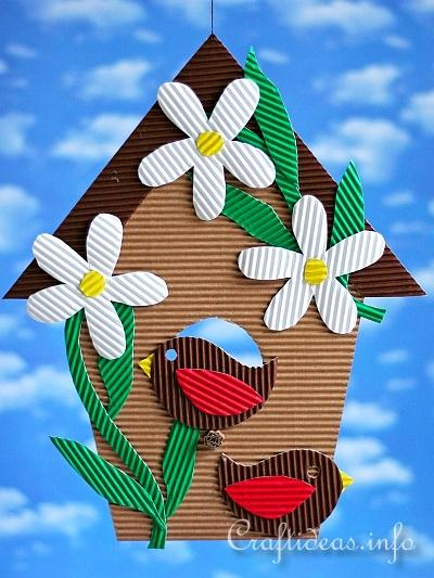 Paper Craft For Kids Corrugated Cardboard Birdhouse Decoration