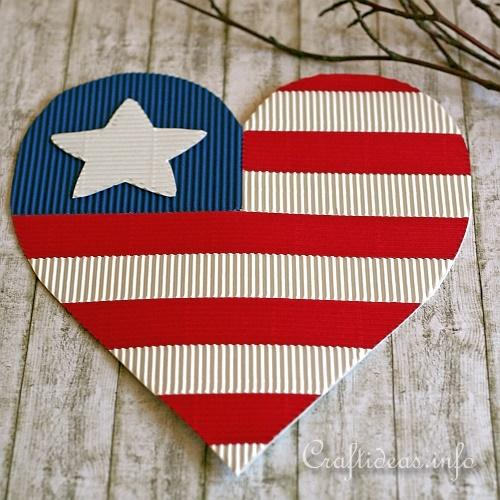 Kids Independence Day Craft Patriotic Paper Heart Wall Decoration