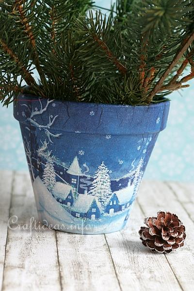 Free Crafts For Christmas Winter Village Flower Pot