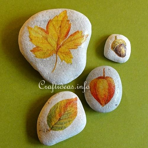 Autumn Crafts Fall Leaf Stones For Paperweights Or As Decorations