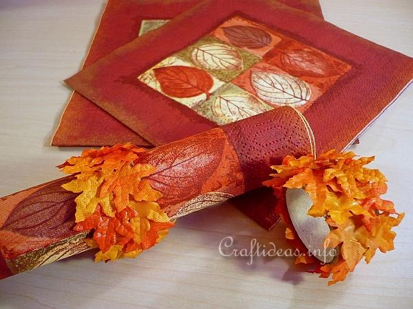 autumn or thanksgiving craft fall leaves napkin rings