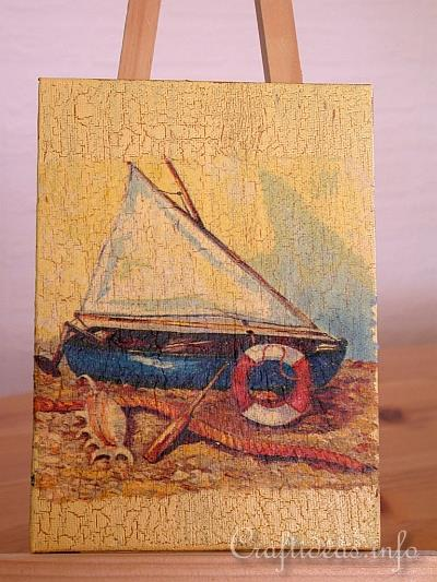 Faux Sailboat Painting - Paper Napkin Applique