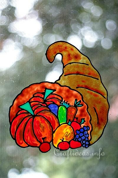 Faux Stain Glass Picture - Thanksgiving - Cornucopia 400