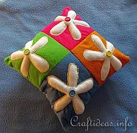 Felt Patchwork Flower Power Pillow