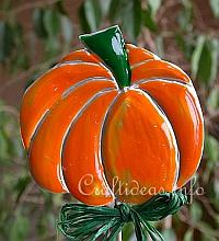 Fun Fall Craft - Embossed Metal Pumpkin Plant Stick