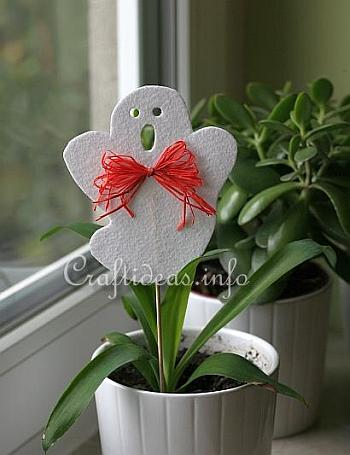 Halloween Felt Ghost Plant Stick