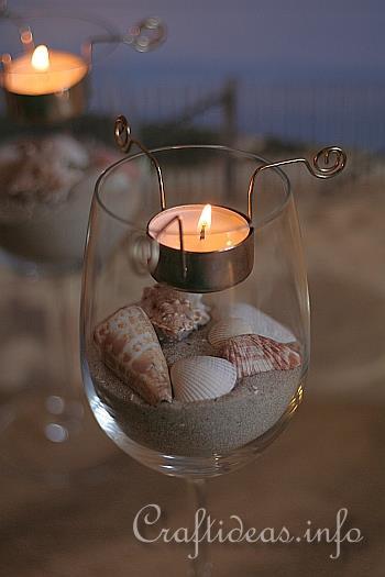 Maritime and seashell craft tea light candle