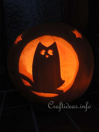 Halloween Craft - Pumpkin Carving - Owl Jack-o'-Lantern