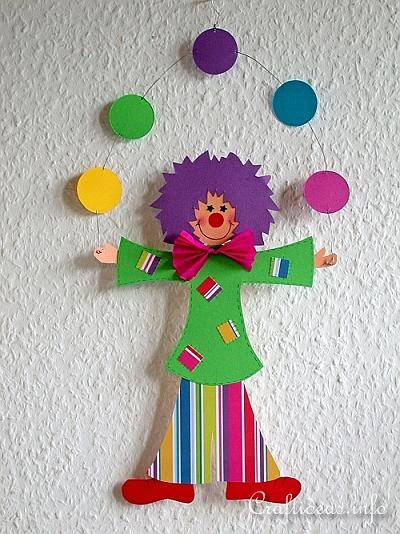 Paper craft idea for kids how to make a paper clown for Art and craft for decoration