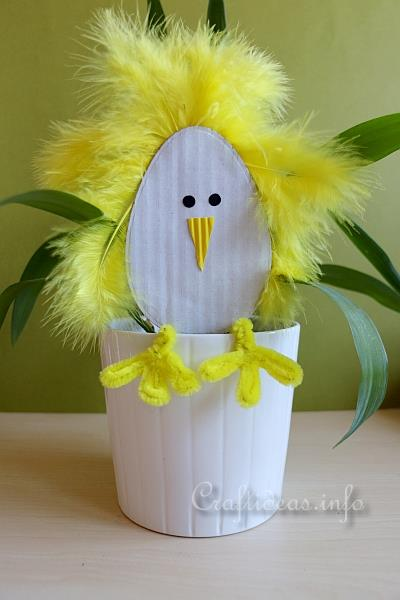 Spring and easter crafts paper crafts flower pot chick paper craft for easter standing paper chick mightylinksfo