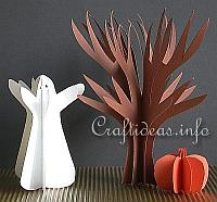 Paper Craft for Halloween - 3-D Paper Tree, Pumpkin and Ghost