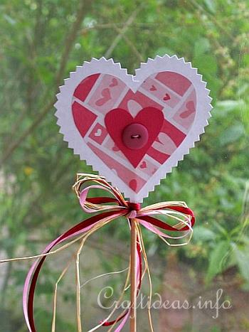 Paper Craft for Spring - Paper Heart Plant Stick
