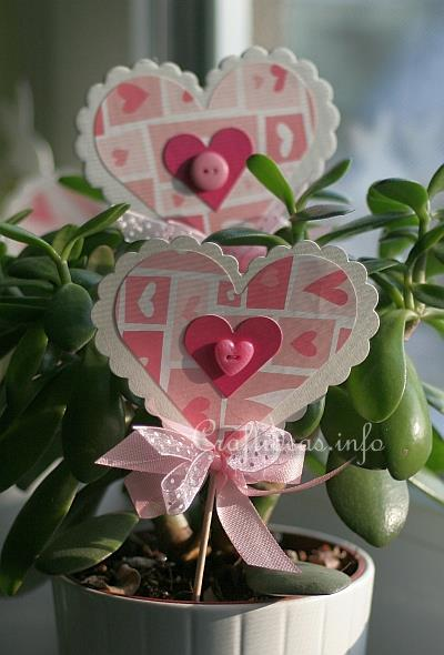 Paper Craft for Spring - Paper Heart Plant Stick 3