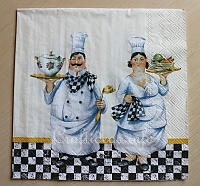 Paper Napkin With Cooking Chefs Motif