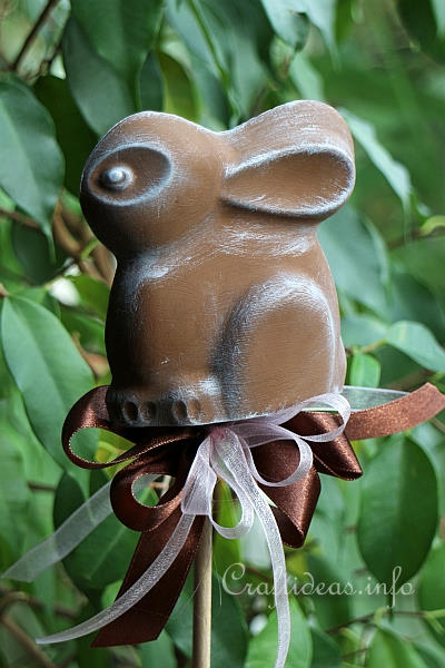 Plaster of Paris Easter Bunny Plant Stick