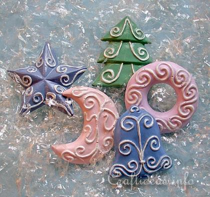 Plaster of Paris Refrigerator Magnets - Pastel Colored Christmas Shapes