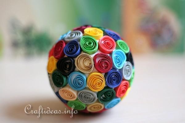 Summer Paper Craft Quilled Styrofoam Ball