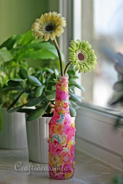 Paper Craft For Spring Recycled Glass Bottle Flower Vase In