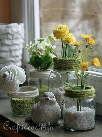 Decorating Idea for Spring - Recycling Craft - Jar Flower Vases