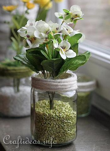 Recycling Craft for Spring - Jar Flower Vases 4