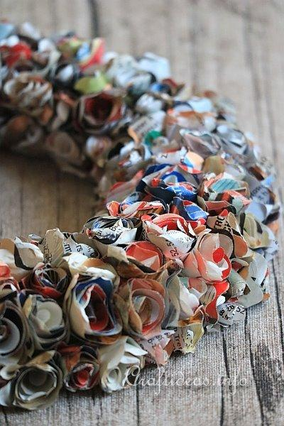 Recycling Magazines - Wreath With Paper Roses