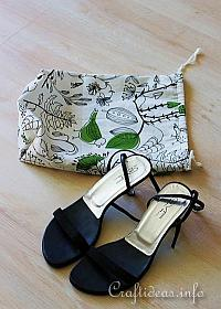 Sewing Craft for Spring - Fabric Drawstring Shoe Bag Project