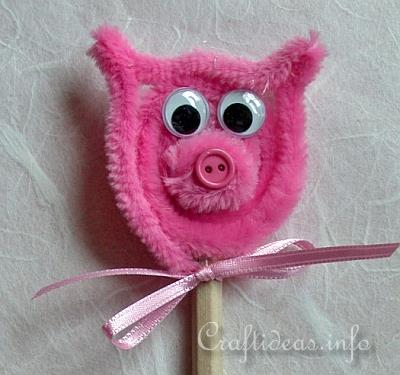 Spring Craft for Kids - Cute Chenille Pig Pencil Pal Topper 2