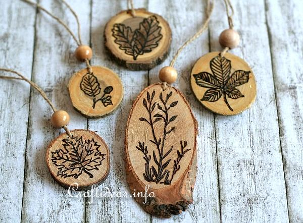 Stamping and Wood Burning on Wood Slices - Ornaments 2