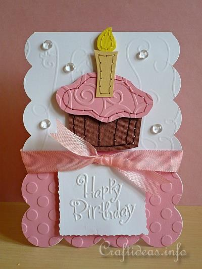 Birthday Card To Craft Stitched Cupcake Birthday Card