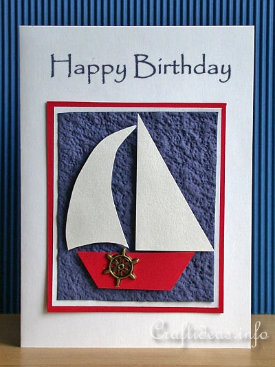 free card craft sailboat birthday card for men