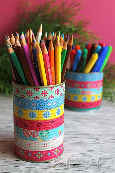 Upcycling Craft - Colorful Can Pencil Holders 2