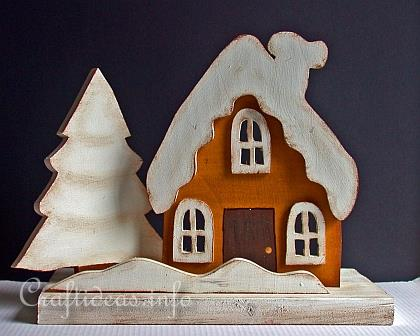 Winter and Christmas Wood Craft -Country Cottage with Snow