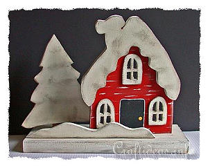 Winter and Christmas Wood Craft - Swedish Cottage with Snow
